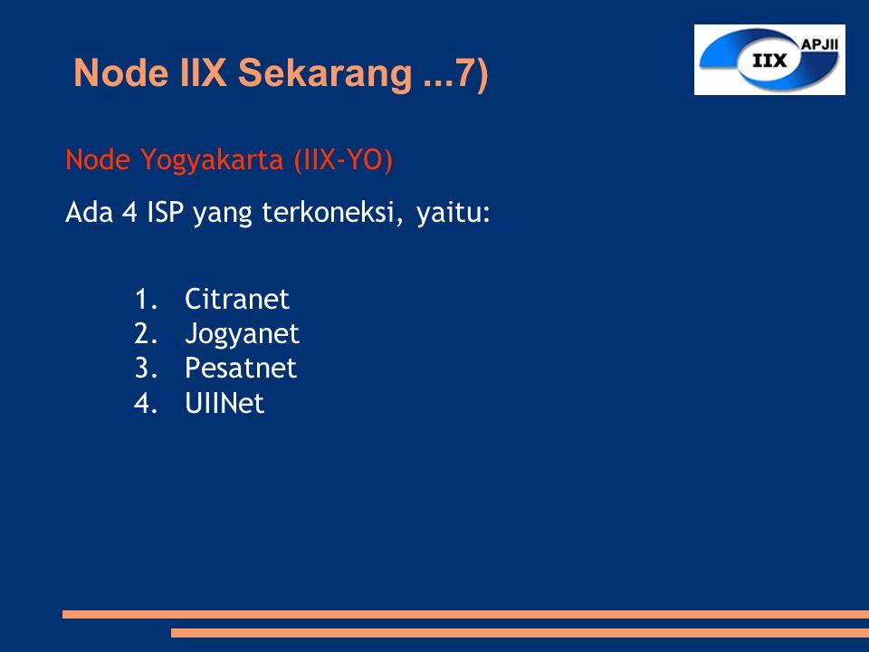 Node Yogyakarta (IIX-YO) Ada 4 ISP yang terkoneksi, yaitu: 1.Citranet 2.Jogyanet 3.Pesatnet 4.UIINet Node IIX Sekarang...7)