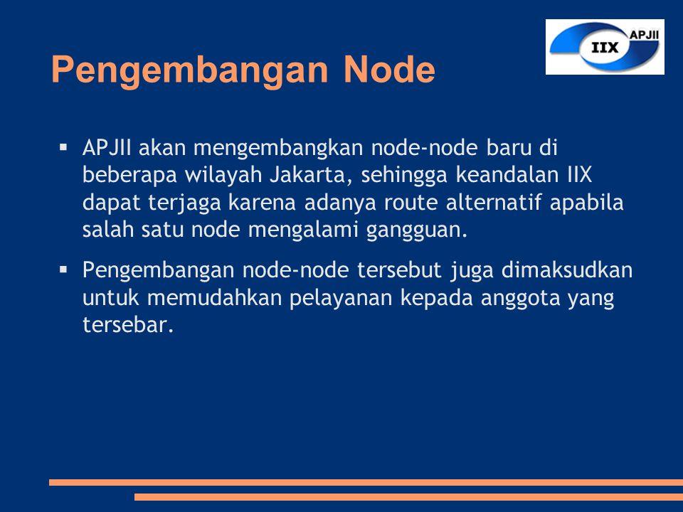 Pengembangan Node  APJII akan mengembangkan node-node baru di beberapa wilayah Jakarta, sehingga keandalan IIX dapat terjaga karena adanya route alternatif apabila salah satu node mengalami gangguan.