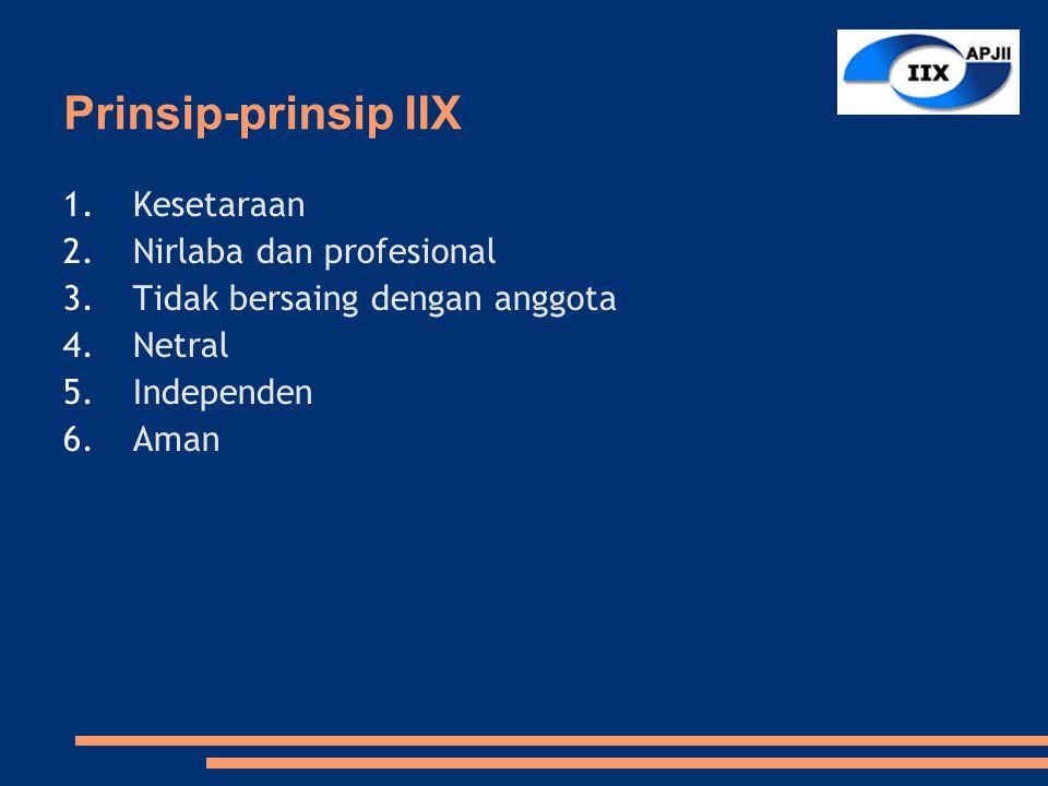 Prinsip-prinsip IIX 1.Kesetaraan 2.Nirlaba dan profesional 3.Tidak bersaing dengan anggota 4.Netral 5.Independen 6.Aman