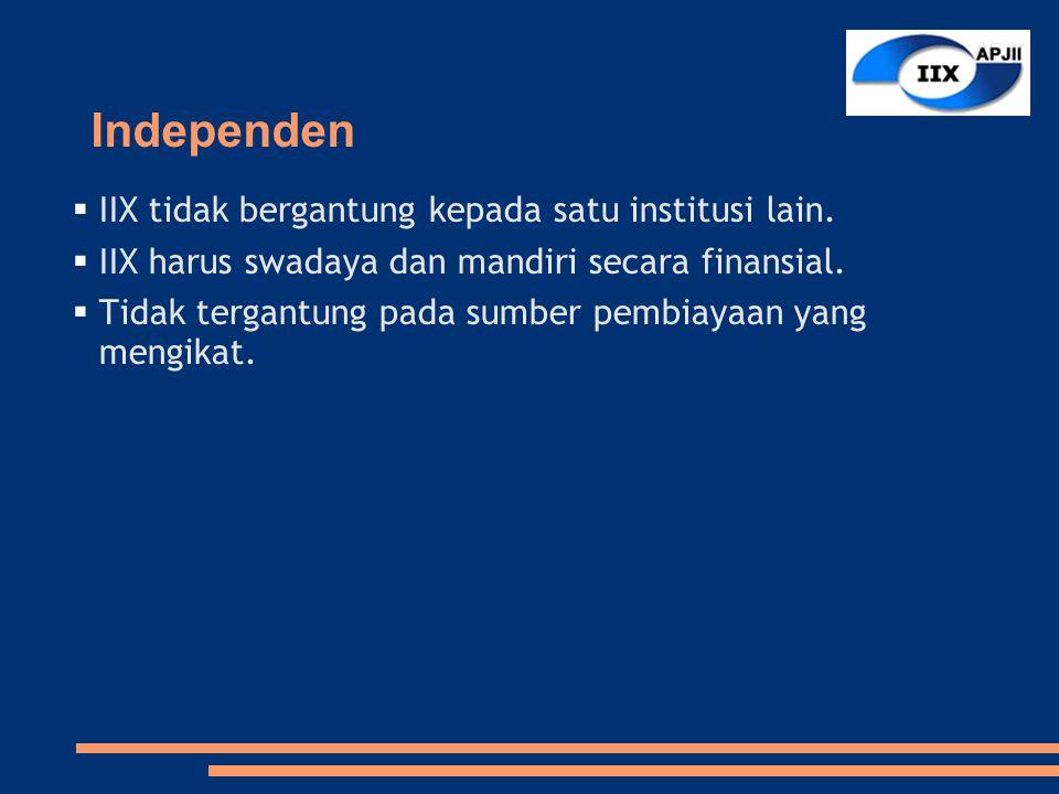 Independen  IIX tidak bergantung kepada satu institusi lain.