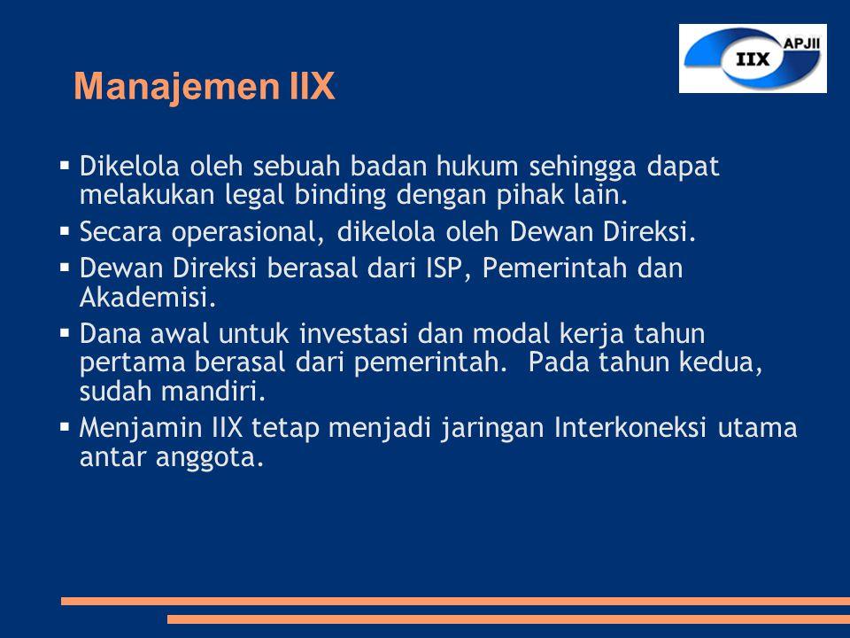 Manajemen IIX  Dikelola oleh sebuah badan hukum sehingga dapat melakukan legal binding dengan pihak lain.