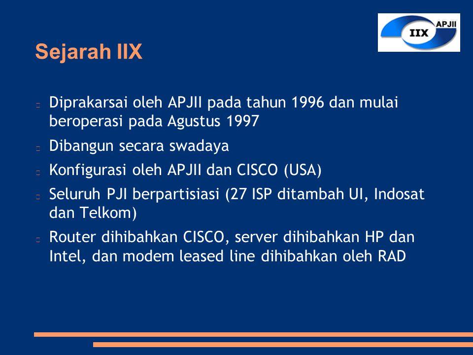 Sejarah IIX Diprakarsai oleh APJII pada tahun 1996 dan mulai beroperasi pada Agustus 1997 Dibangun secara swadaya Konfigurasi oleh APJII dan CISCO (USA) Seluruh PJI berpartisiasi (27 ISP ditambah UI, Indosat dan Telkom) Router dihibahkan CISCO, server dihibahkan HP dan Intel, dan modem leased line dihibahkan oleh RAD