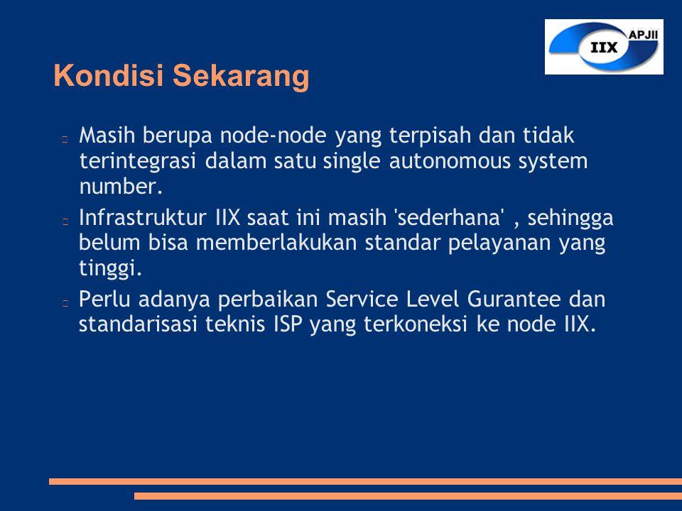 Node IIX Sekarang  2 node JKT  1 node Yogjakarta  1 node Surabaya  1 node Medan Node yang di luar Jakarta belum terhubung ke node yang di Jakarta