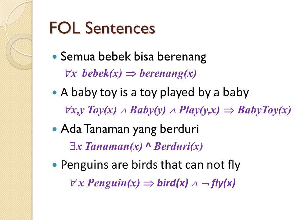 FOL Sentences Semua bebek bisa berenang A baby toy is a toy played by a baby Ada Tanaman yang berduri Penguins are birds that can not fly  x Tanaman(