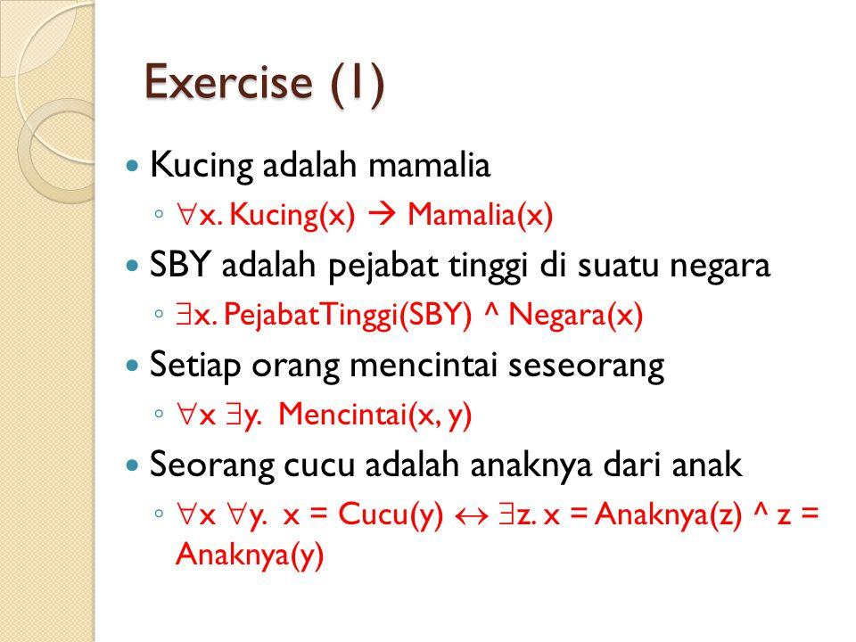 Exercise (1) Kucing adalah mamalia ◦ x. Kucing(x)  Mamalia(x) SBY adalah pejabat tinggi di suatu negara ◦ x. PejabatTinggi(SBY) ^ Negara(x) Setiap
