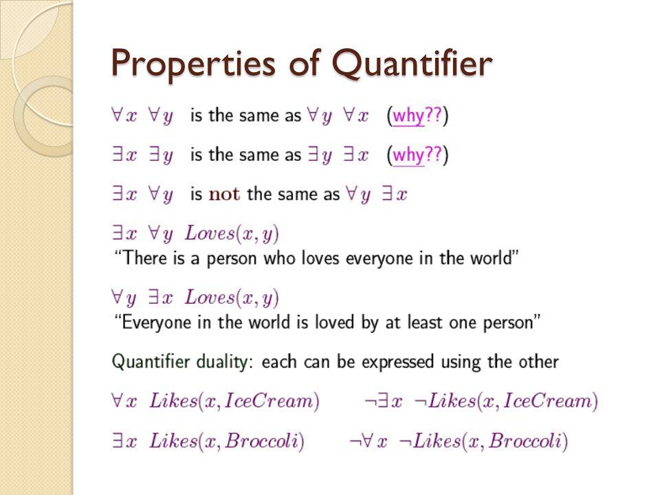 Properties of Quantifier