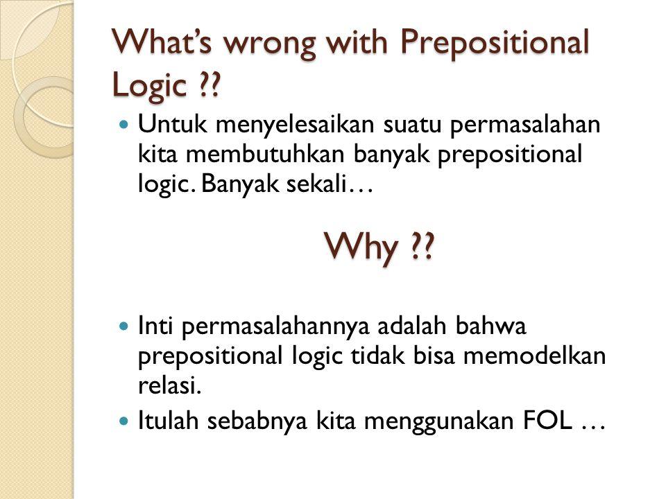 What's wrong with Prepositional Logic ?? Untuk menyelesaikan suatu permasalahan kita membutuhkan banyak prepositional logic. Banyak sekali… Inti perma