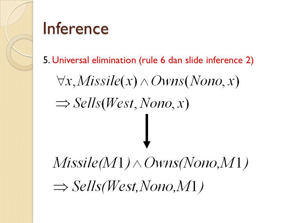Inference 5. Universal elimination (rule 6 dan slide inference 2)