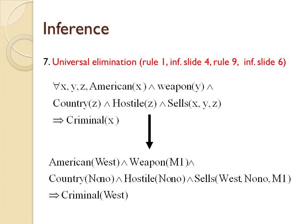 Inference 7. Universal elimination (rule 1, inf. slide 4, rule 9, inf. slide 6)