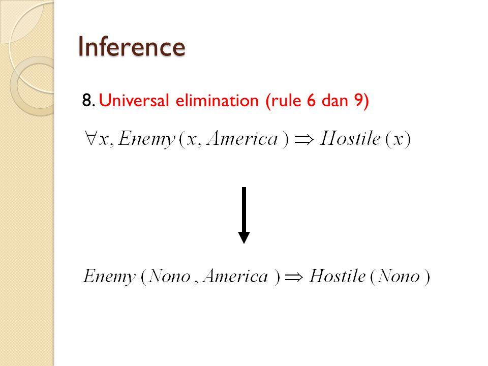 Inference 8. Universal elimination (rule 6 dan 9)