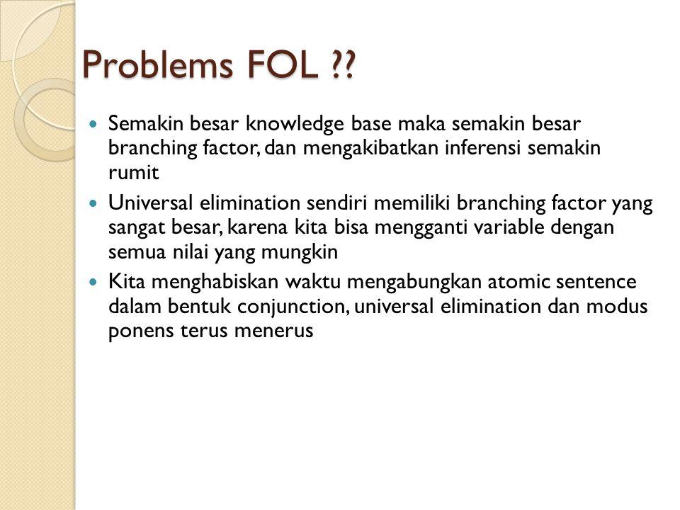 Problems FOL ?? Semakin besar knowledge base maka semakin besar branching factor, dan mengakibatkan inferensi semakin rumit Universal elimination send