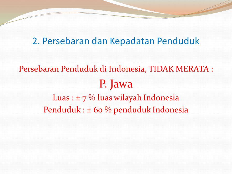 2. Persebaran dan Kepadatan Penduduk Persebaran Penduduk di Indonesia, TIDAK MERATA : P. Jawa Luas : ± 7 % luas wilayah Indonesia Penduduk : ± 60 % pe