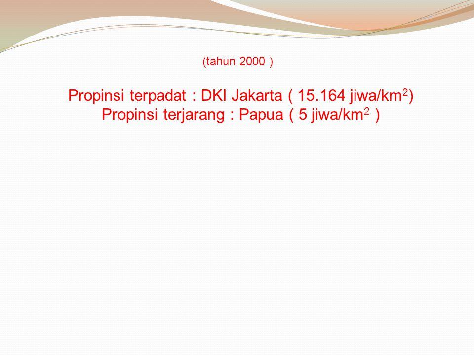 Propinsi terpadat : DKI Jakarta ( 15.164 jiwa/km 2 ) Propinsi terjarang : Papua ( 5 jiwa/km 2 ) (tahun 2000 )