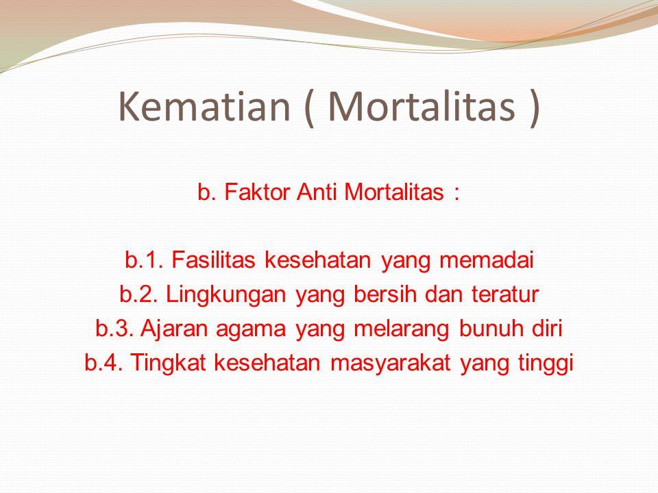 b. Faktor Anti Mortalitas : b.1. Fasilitas kesehatan yang memadai b.2. Lingkungan yang bersih dan teratur b.3. Ajaran agama yang melarang bunuh diri b