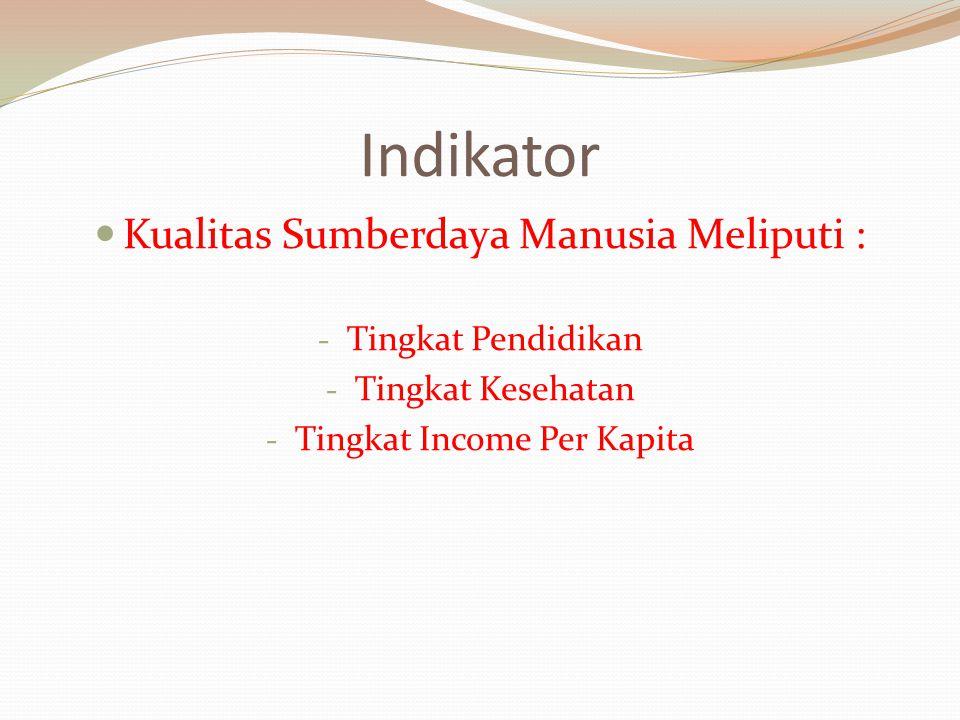 Indikator Kualitas Sumberdaya Manusia Meliputi : - Tingkat Pendidikan - Tingkat Kesehatan - Tingkat Income Per Kapita