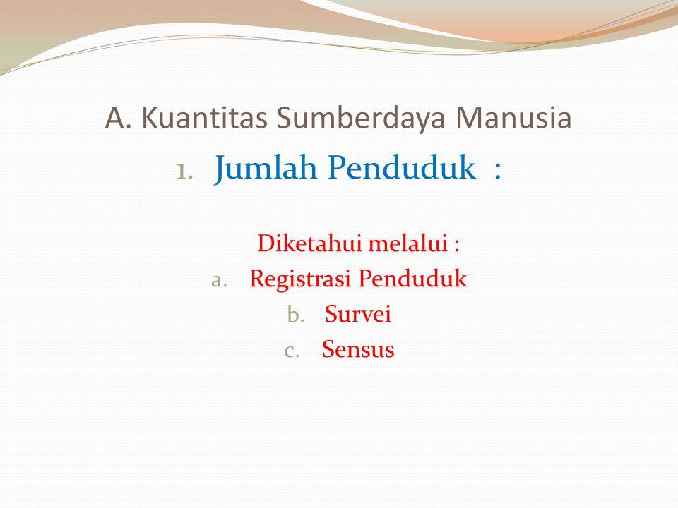 A. Kuantitas Sumberdaya Manusia 1. Jumlah Penduduk : Diketahui melalui : a. Registrasi Penduduk b. Survei c. Sensus