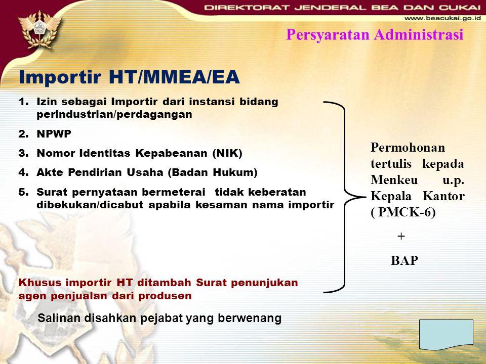 Importir HT/MMEA/EA 1.Izin sebagai Importir dari instansi bidang perindustrian/perdagangan 2.NPWP 3.Nomor Identitas Kepabeanan (NIK) 4.Akte Pendirian