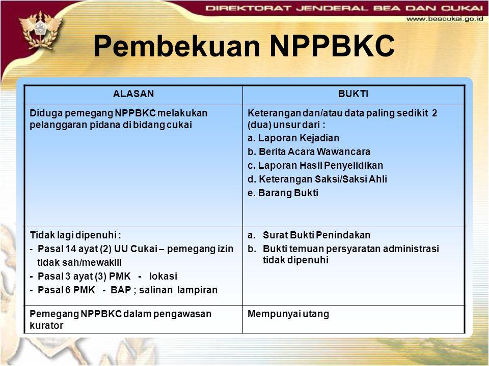 Pembekuan NPPBKC ALASANBUKTI Diduga pemegang NPPBKC melakukan pelanggaran pidana di bidang cukai Keterangan dan/atau data paling sedikit 2 (dua) unsur