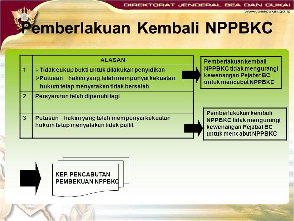 Pemberlakuan Kembali NPPBKC Pemberlakuan kembali NPPBKC tidak mengurangi kewenangan Pejabat BC untuk mencabut NPPBKC ALASAN 1  Tidak cukup bukti untu