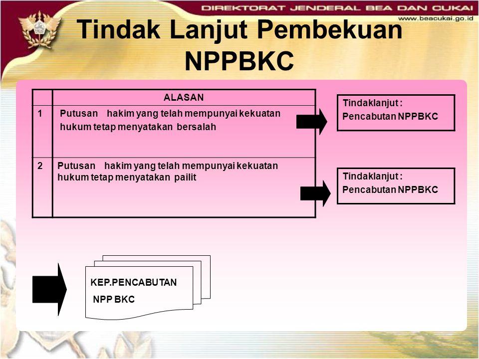 Tindak Lanjut Pembekuan NPPBKC ALASAN 1 Putusan hakim yang telah mempunyai kekuatan hukum tetap menyatakan bersalah 2Putusan hakim yang telah mempunya