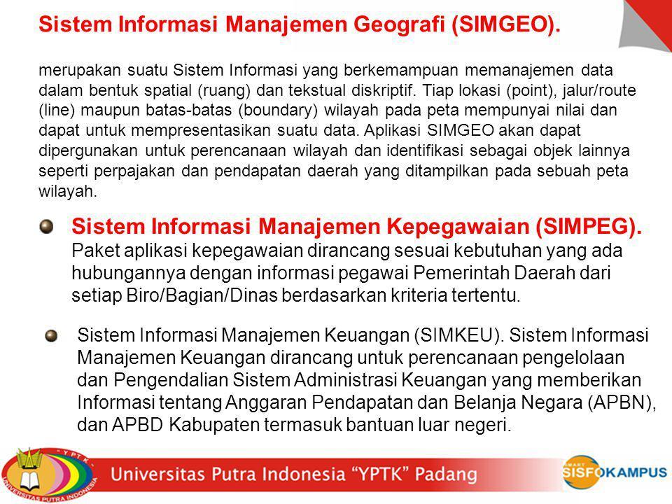 Sistem Informasi Manajemen Geografi (SIMGEO). merupakan suatu Sistem Informasi yang berkemampuan memanajemen data dalam bentuk spatial (ruang) dan tek