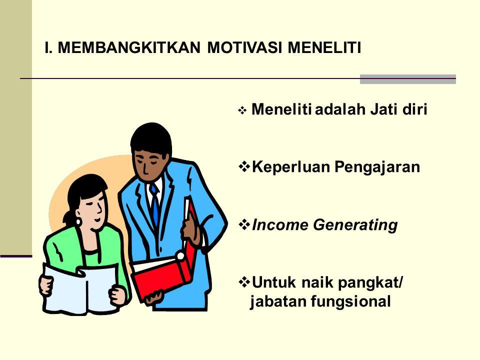 I. MEMBANGKITKAN MOTIVASI MENELITI  Meneliti adalah Jati diri  Keperluan Pengajaran  Income Generating  Untuk naik pangkat/ jabatan fungsional