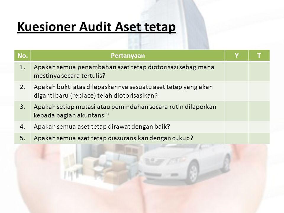 Kuesioner Audit Aset tetap No.PertanyaanYT 1.Apakah semua penambahan aset tetap diotorisasi sebagimana mestinya secara tertulis? 2.Apakah bukti atas d