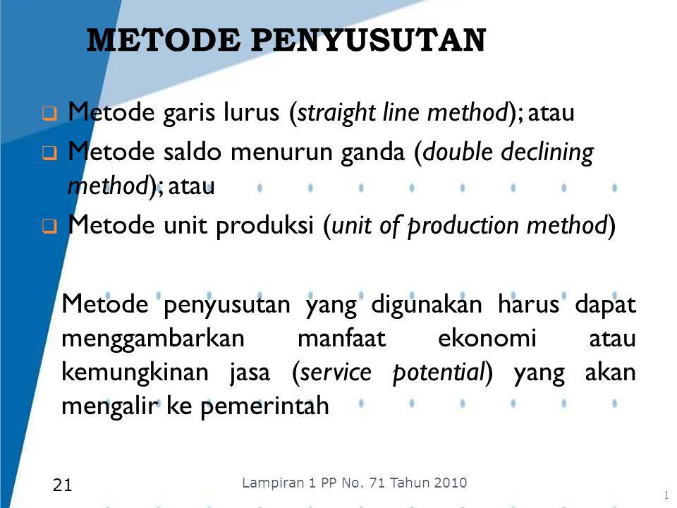 METODE PENYUSUTAN  Metode garis lurus (straight line method); atau  Metode saldo menurun ganda (double declining method); atau  Metode unit produks