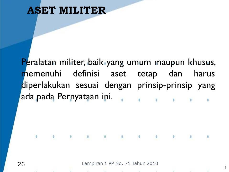 ASET MILITER Peralatan militer, baik yang umum maupun khusus, memenuhi definisi aset tetap dan harus diperlakukan sesuai dengan prinsip-prinsip yang a
