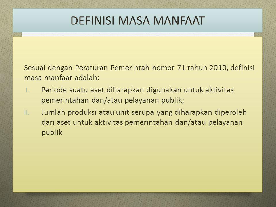 DEFINISI MASA MANFAAT Sesuai dengan Peraturan Pemerintah nomor 71 tahun 2010, definisi masa manfaat adalah: I. Periode suatu aset diharapkan digunakan