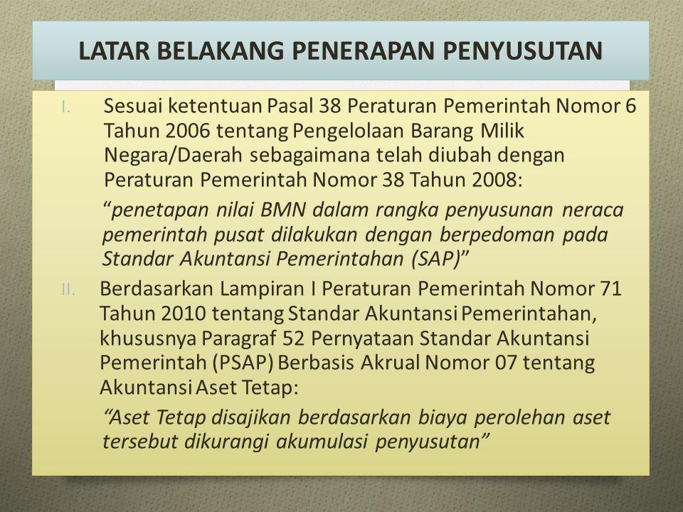 LATAR BELAKANG PENERAPAN PENYUSUTAN I. Sesuai ketentuan Pasal 38 Peraturan Pemerintah Nomor 6 Tahun 2006 tentang Pengelolaan Barang Milik Negara/Daera