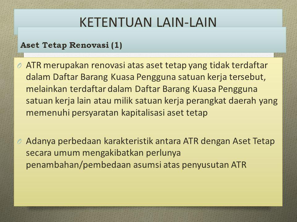 O ATR merupakan renovasi atas aset tetap yang tidak terdaftar dalam Daftar Barang Kuasa Pengguna satuan kerja tersebut, melainkan terdaftar dalam Daft