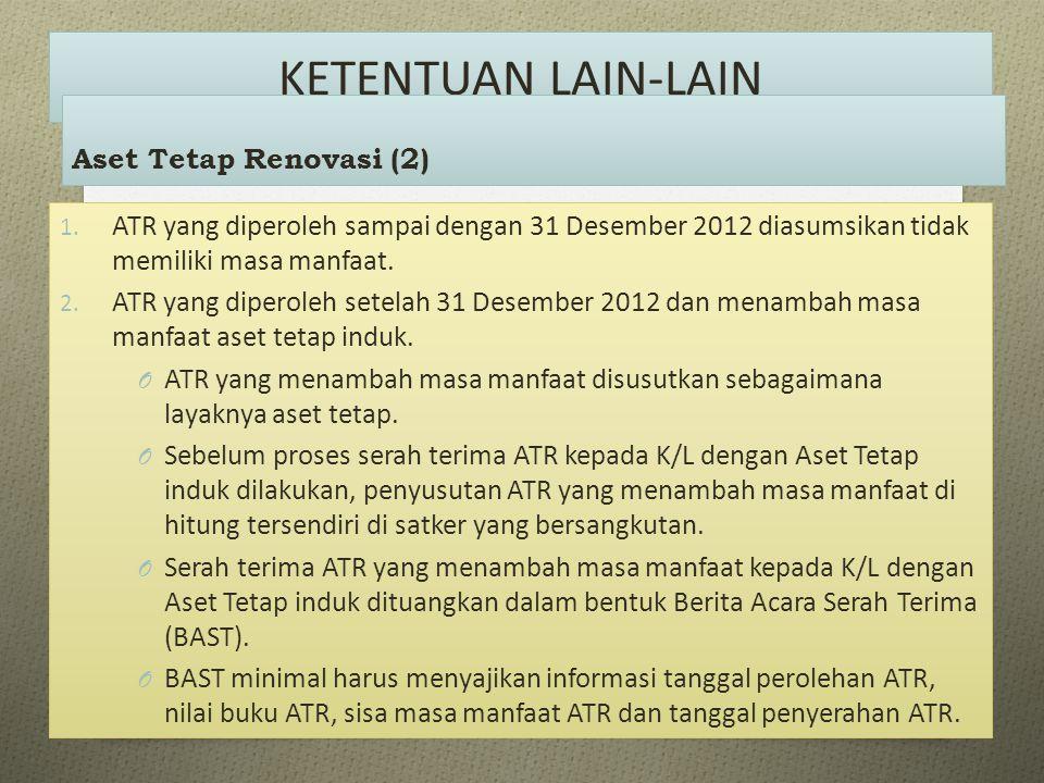 KETENTUAN LAIN-LAIN 1. ATR yang diperoleh sampai dengan 31 Desember 2012 diasumsikan tidak memiliki masa manfaat. 2. ATR yang diperoleh setelah 31 Des
