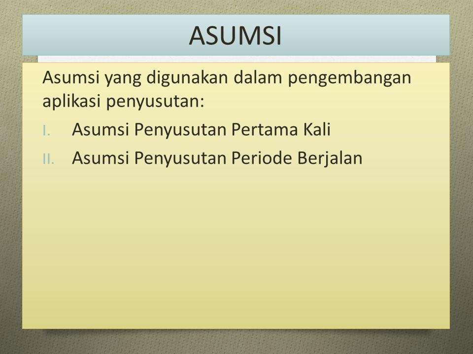 ASUMSI Asumsi yang digunakan dalam pengembangan aplikasi penyusutan: I. Asumsi Penyusutan Pertama Kali II. Asumsi Penyusutan Periode Berjalan
