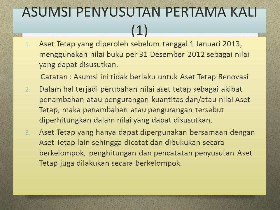 ASUMSI PENYUSUTAN PERTAMA KALI (1) 1. Aset Tetap yang diperoleh sebelum tanggal 1 Januari 2013, menggunakan nilai buku per 31 Desember 2012 sebagai ni