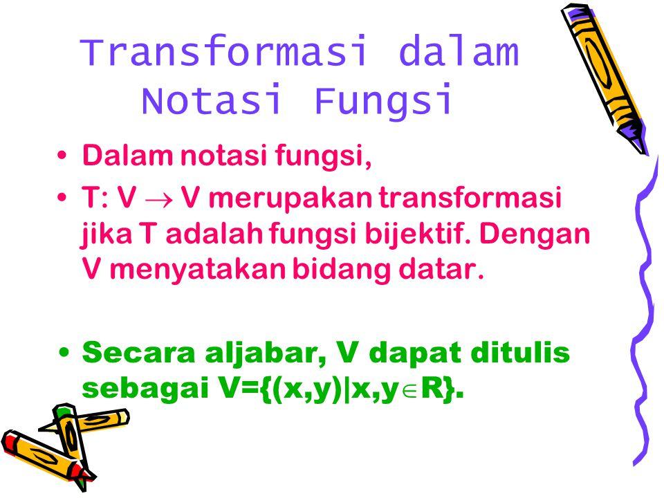 Transformasi dalam Notasi Fungsi Dalam notasi fungsi, T: V  V merupakan transformasi jika T adalah fungsi bijektif. Dengan V menyatakan bidang datar.