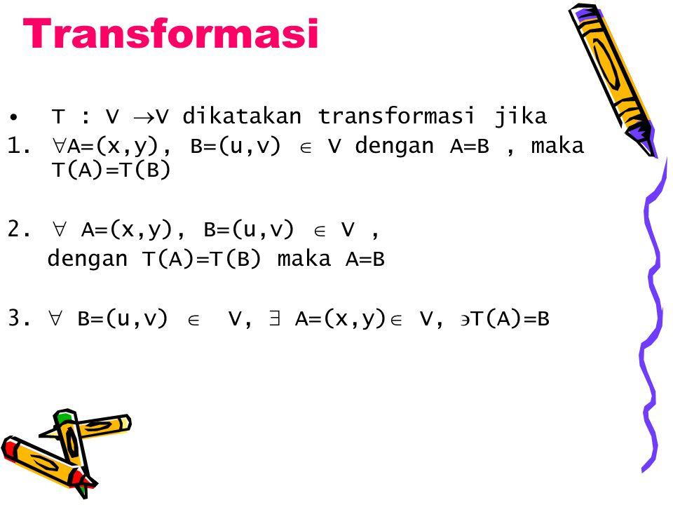 Transformasi T : V  V dikatakan transformasi jika 1.  A=(x,y), B=(u,v)  V dengan A=B, maka T(A)=T(B) 2.  A=(x,y), B=(u,v)  V, dengan T(A)=T(B) ma