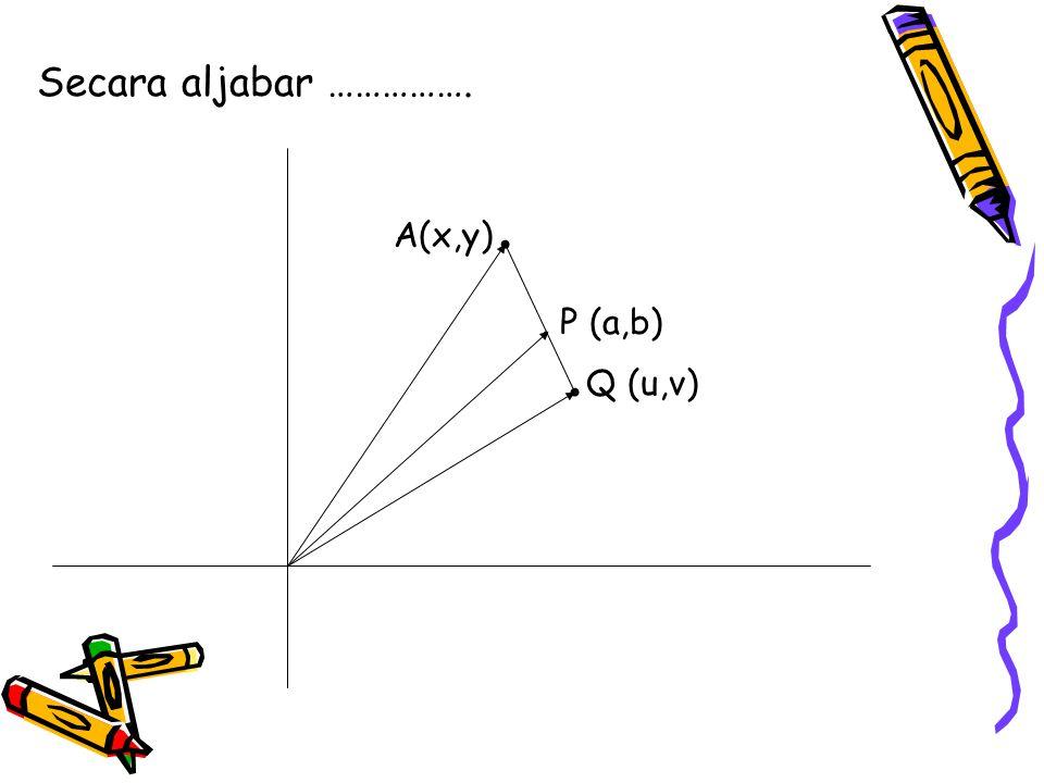 Secara aljabar …………….. P (a,b) A(x,y).. Q (u,v)