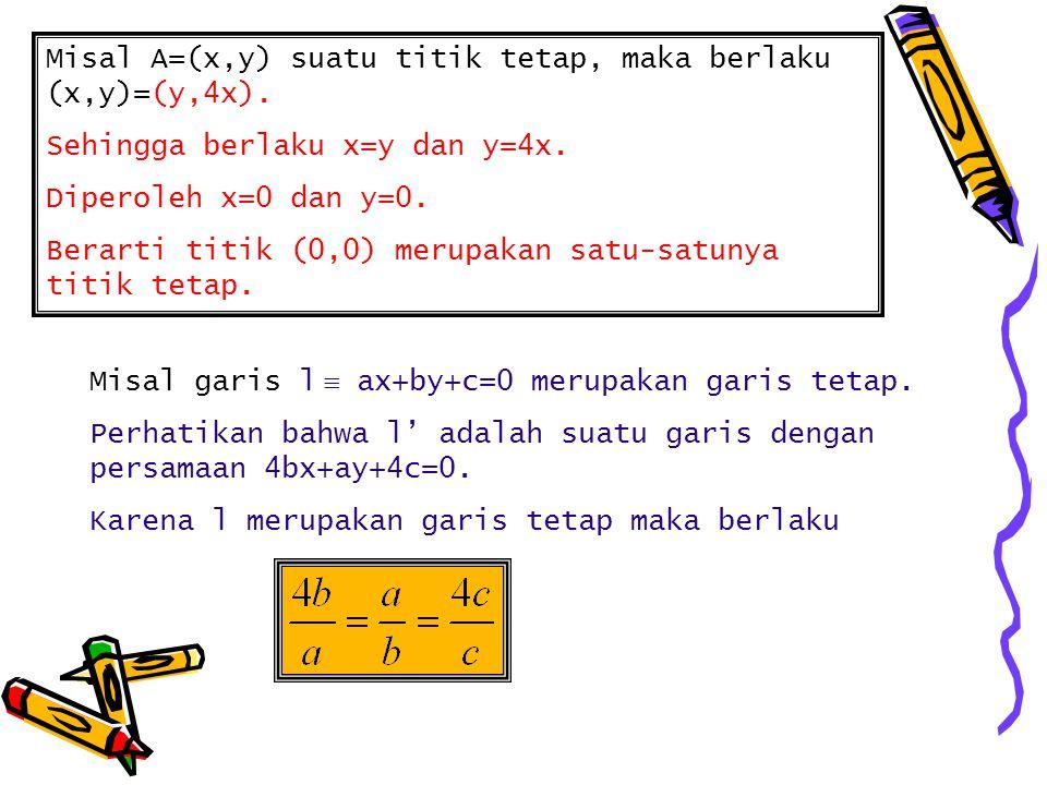 Misal A=(x,y) suatu titik tetap, maka berlaku (x,y)=(y,4x). Sehingga berlaku x=y dan y=4x. Diperoleh x=0 dan y=0. Berarti titik (0,0) merupakan satu-s