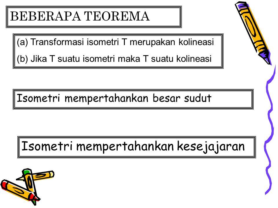 BEBERAPA TEOREMA (a) Transformasi isometri T merupakan kolineasi (b) Jika T suatu isometri maka T suatu kolineasi Isometri mempertahankan besar sudut Isometri mempertahankan kesejajaran