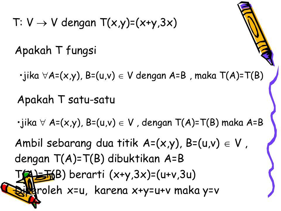 T: V  V dengan T(x,y)=(x+y,3x) Apakah T fungsi jika  A=(x,y), B=(u,v)  V dengan A=B, maka T(A)=T(B) Apakah T satu-satu jika  A=(x,y), B=(u,v)  V, dengan T(A)=T(B) maka A=B Ambil sebarang dua titik A=(x,y), B=(u,v)  V, dengan T(A)=T(B) dibuktikan A=B T(A)=T(B) berarti (x+y,3x)=(u+v,3u) Diperoleh x=u, karena x+y=u+v maka y=v