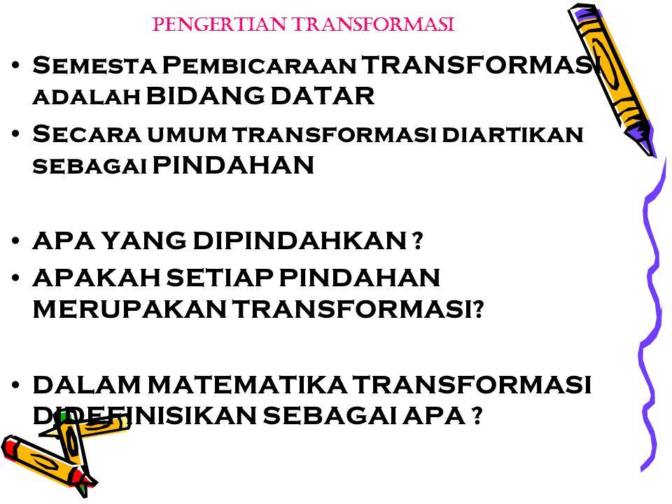 PENGERTIAN TRANSFORMASI Semesta Pembicaraan TRANSFORMASI adalah BIDANG DATAR Secara umum transformasi diartikan sebagai PINDAHAN APA YANG DIPINDAHKAN