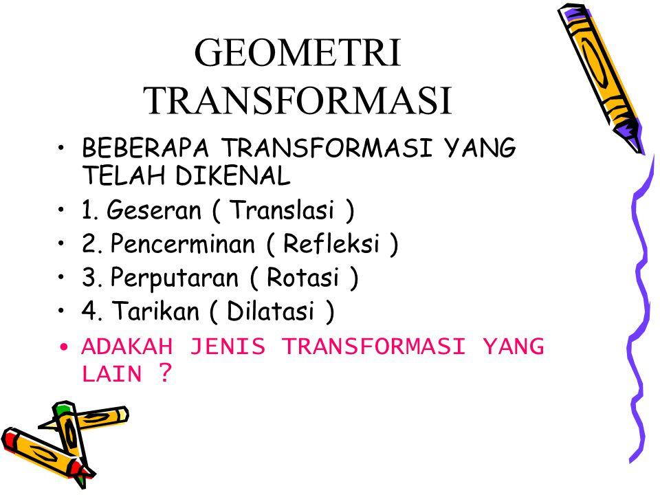 GEOMETRI TRANSFORMASI BEBERAPA TRANSFORMASI YANG TELAH DIKENAL 1. Geseran ( Translasi ) 2. Pencerminan ( Refleksi ) 3. Perputaran ( Rotasi ) 4. Tarika