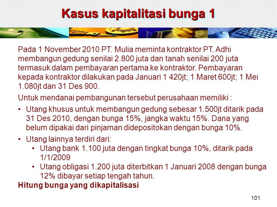 Kasus kapitalitasi bunga 1 Pada 1 November 2010 PT. Mulia meminta kontraktor PT. Adhi membangun gedung senilai 2.800 juta dan tanah senilai 200 juta t