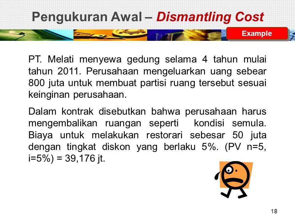 Pengukuran Awal – Dismantling Cost PT. Melati menyewa gedung selama 4 tahun mulai tahun 2011. Perusahaan mengeluarkan uang sebear 800 juta untuk membu