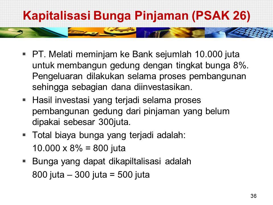 Kapitalisasi Bunga Pinjaman (PSAK 26)  PT. Melati meminjam ke Bank sejumlah 10.000 juta untuk membangun gedung dengan tingkat bunga 8%. Pengeluaran d