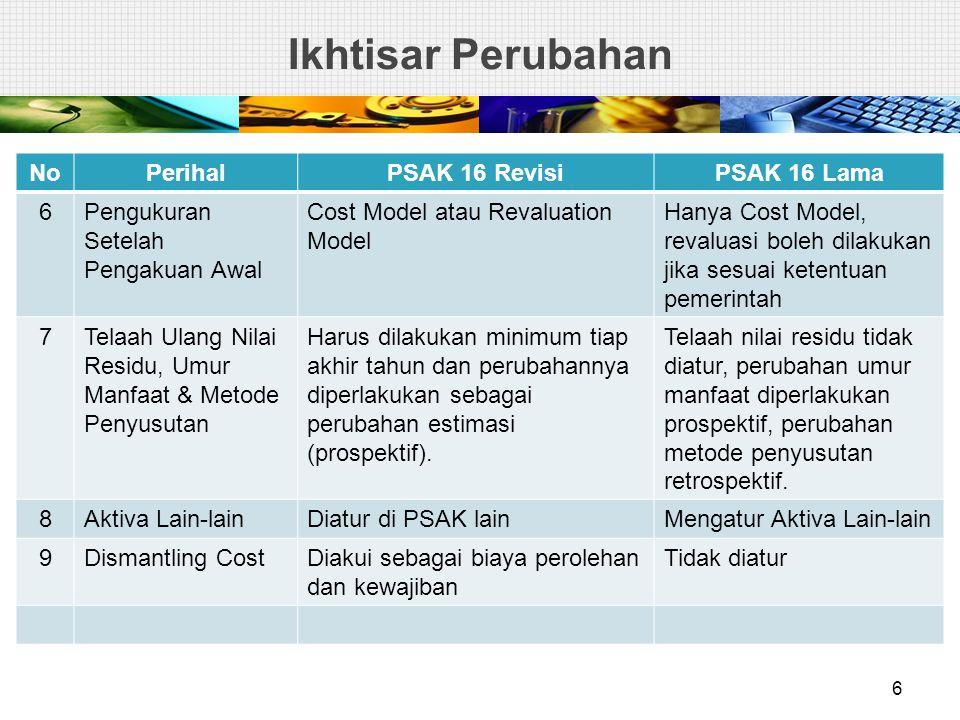 Ikhtisar Perubahan NoPerihalPSAK 16 RevisiPSAK 16 Lama 6Pengukuran Setelah Pengakuan Awal Cost Model atau Revaluation Model Hanya Cost Model, revaluas
