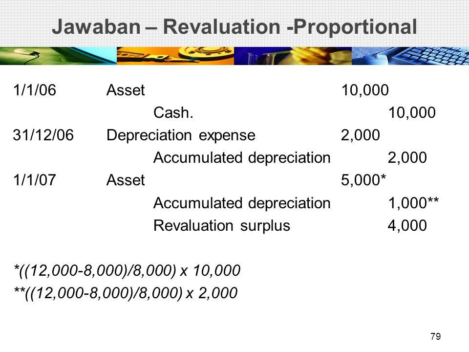 Jawaban – Revaluation -Proportional 1/1/06Asset10,000 Cash. 10,000 31/12/06Depreciation expense2,000 Accumulated depreciation2,000 1/1/07Asset5,000* A