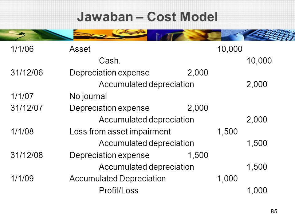 Jawaban – Cost Model 1/1/06Asset10,000 Cash. 10,000 31/12/06Depreciation expense2,000 Accumulated depreciation2,000 1/1/07No journal 31/12/07Depreciat