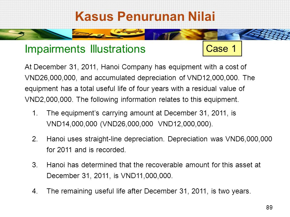 At December 31, 2011, Hanoi Company has equipment with a cost of VND26,000,000, and accumulated depreciation of VND12,000,000. The equipment has a tot